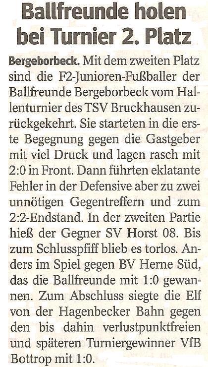 Die WAZ vom 17.01.2013 berichtet über den 2. Platz der F2 beim Hallenturnier von TSV Bruckhausen