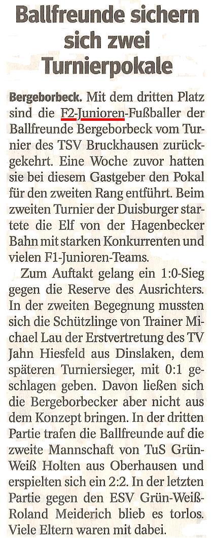 Die WAZ vom 22.01.2013 berichtet über den 3. Platz der F2 beim 2. Hallenturnier von TSV Bruckhausen