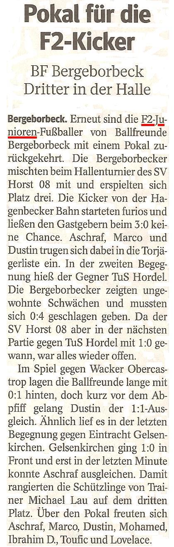 Die WAZ vom 06.02.2013 berichtet über den Pokalgewinn der F2 beim Hallenturnier von SV Horst 08