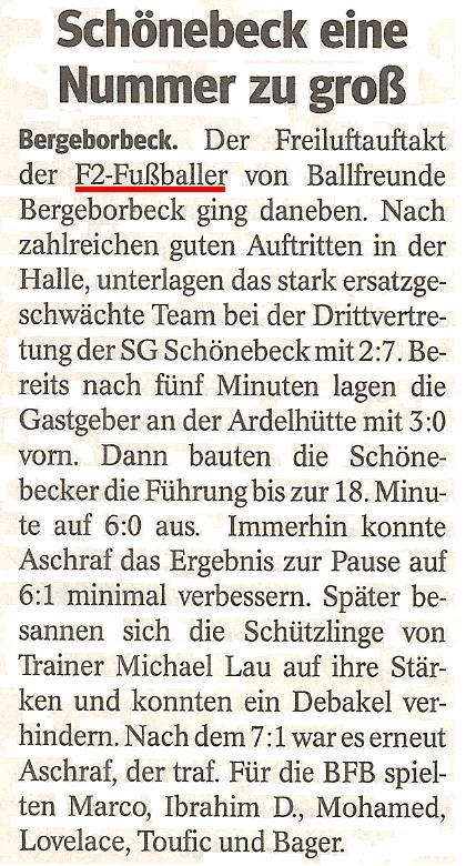 Die WAZ vom 27.02.2013 berichtet über die Freundschaftsspielniederlage in Schönebeck