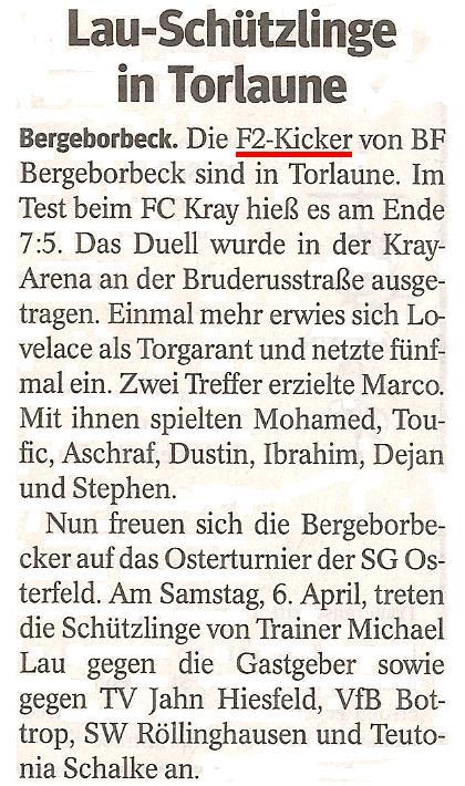 Die WAZ vom 27.03.2013 berichtet über den Sieg im Freundschaftsspiel beim FC Kray